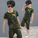 Load image into Gallery viewer, O-neck Kids Cotton Shirt Pants