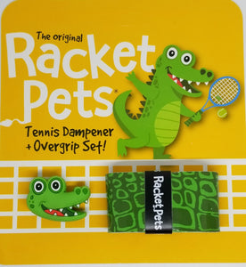 Alligator green tennis grip tape and dampener set
