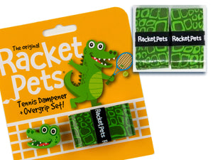 Value Pack - A Green Alligator Racket Pet Tennis Dampener and Overgrip Tape with a (Pack of 2) Replacement Overgrip Tape