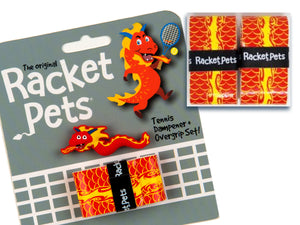 Value Pack - A Red Dragon Racket Pet Tennis Dampener and Overgrip Tape with a (Pack of 2) Replacement Overgrip Tape