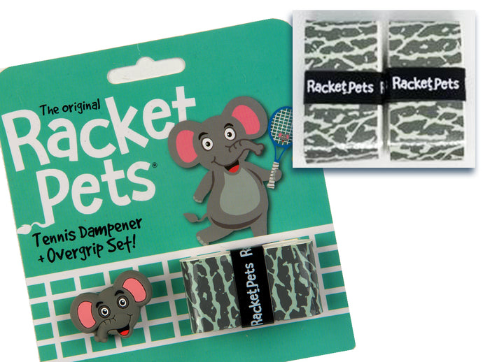 VALUE PACK - A Gray Elephant Racket Pet Tennis Dampener and Overgrip Tape with a (Pack of 2) Replacement Overgrip Tape