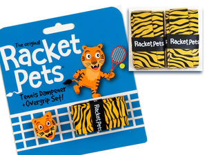 VALUE PACK - A Yellow Tiger Racket Pet Tennis Dampener and Overgrip Tape with a (Pack of 2) Replacement Overgrip Tape