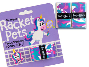 VALUE PACK - A Pink and Purple Unicorn Racket Pet Tennis Dampener and Overgrip Tape with a (Pack of 2) Replacement Overgrip Tape
