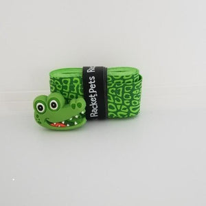 Alligator green tennis grip tape and shock absorber dampener