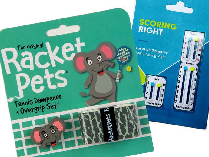 VALUE PACK - A Gray Elephant Racket Pet and Scoring Right Tennis Score Keeper