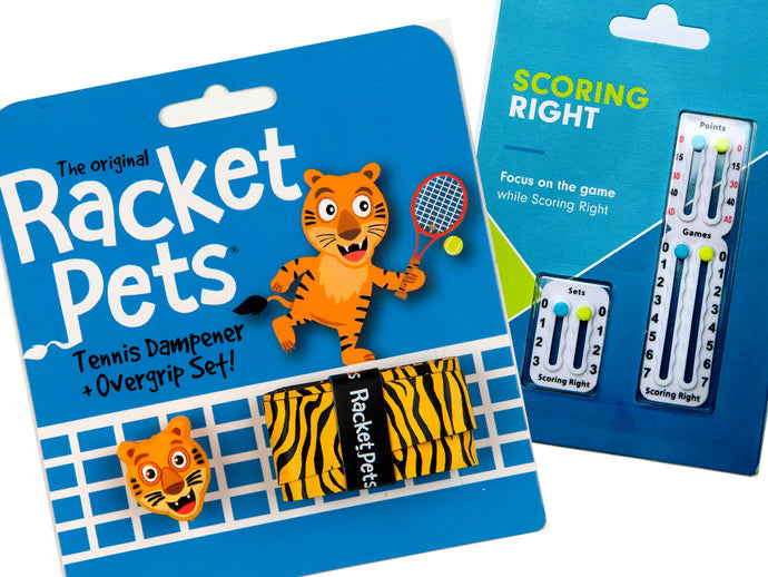 VALUE PACK - A Yellow Tiger Racket Pet and Scoring Right Tennis Score Keeper