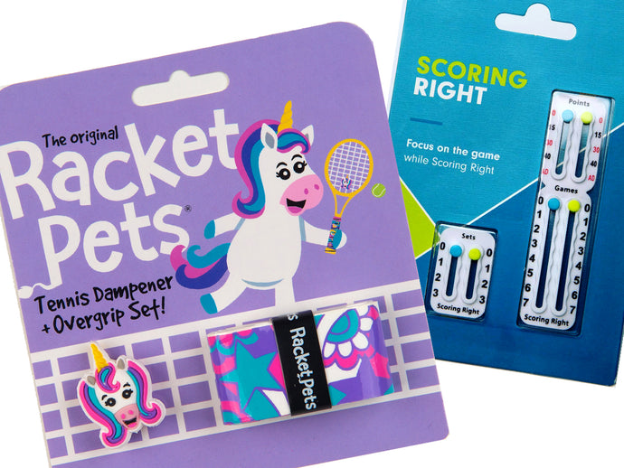VALUE PACK - A Purple Unicorn Racket Pet and Scoring Right Tennis Score Keeper