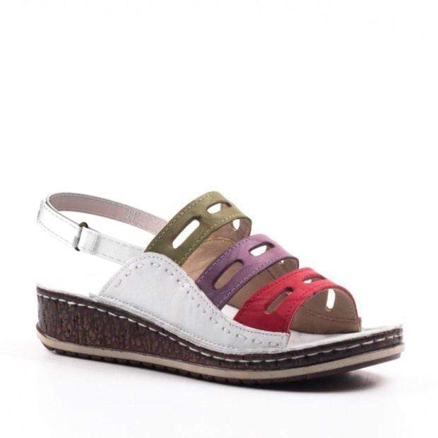 Women Chic Three-color stitching Sandals With Strap