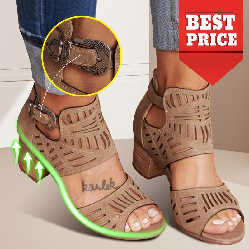 Open Toe Chunky Heel Adjustable Buckle Taupe Casual Sandals
