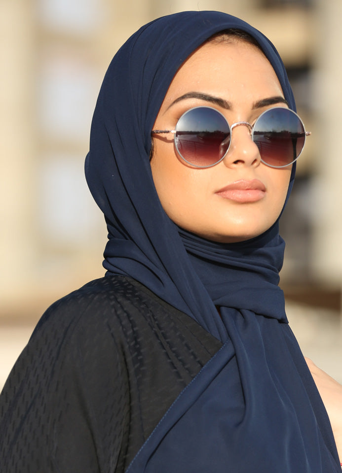 Navy Blue Chiffon Scarf/Hijab by Hijab Avenue - Noor Boutique