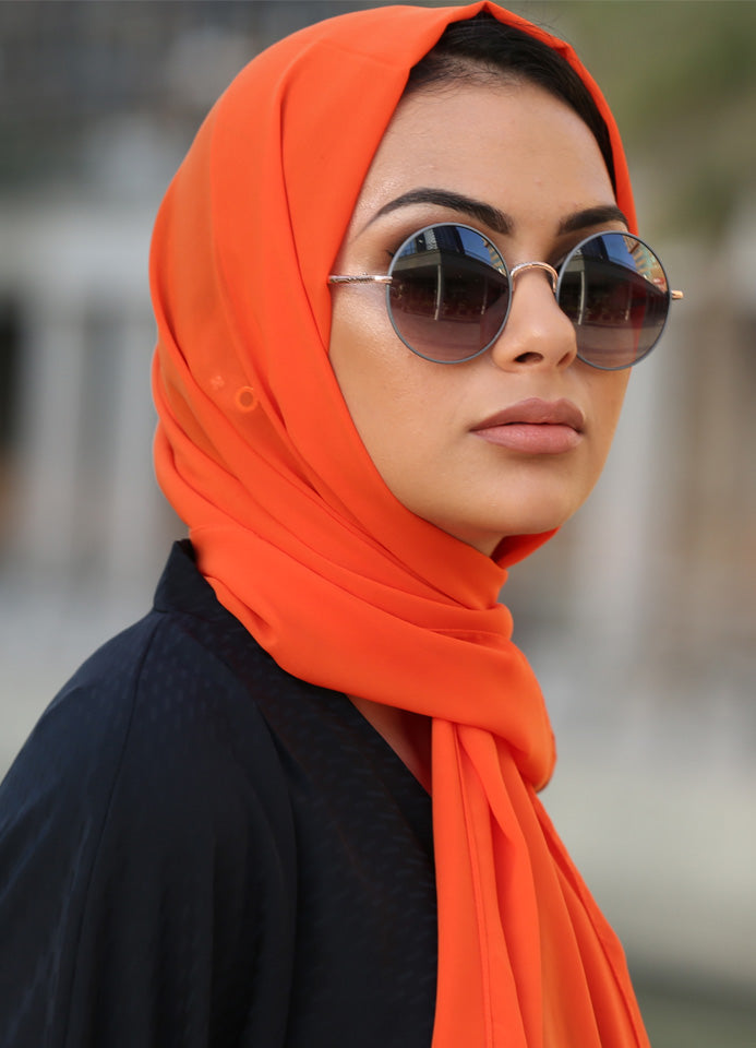 Orange Chiffon Scarf/Hijab by Hijab Avenue - Noor Boutique