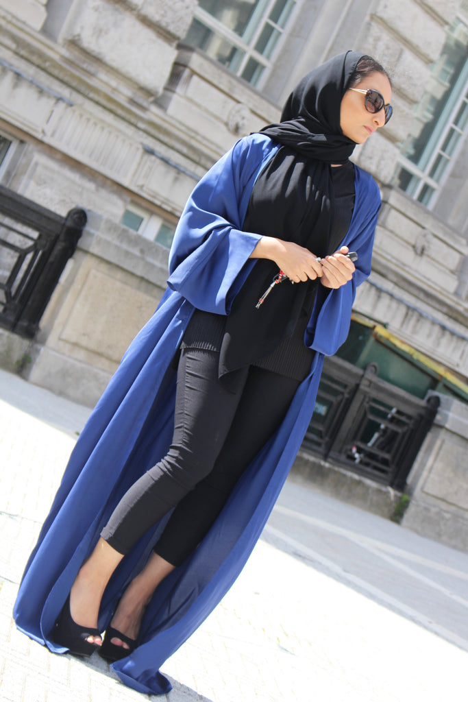 Silk Duster Blue Abaya by Noor Boutique Front View