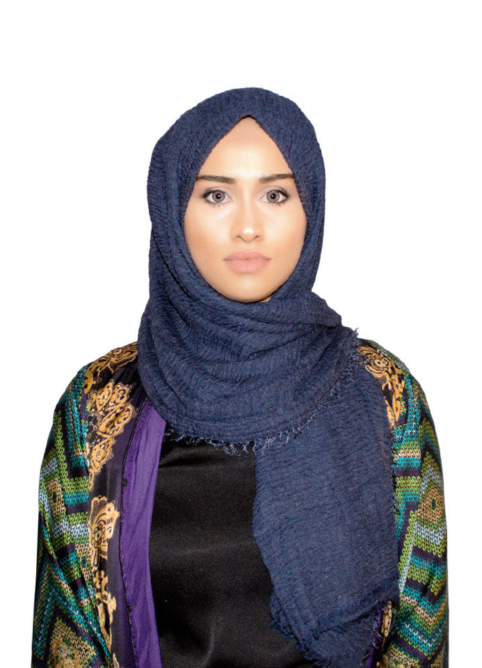 Denim Blue Cotton Crinkle Scarf by Hijab Avenue - Noor Boutique