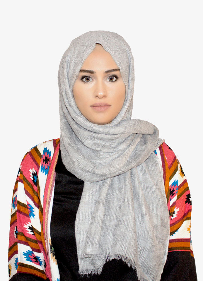 Light Grey Cotton Crepe Scarf by Hijab Avenue - Noor Boutique