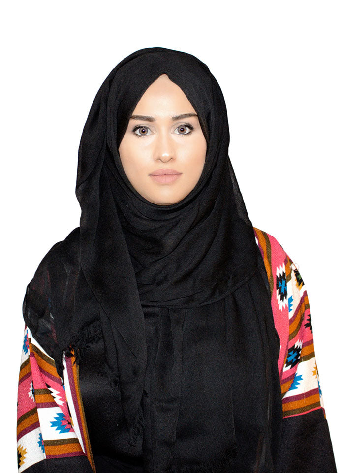 Black Rayon Crepe Scarf by Hijab Avenue - Noor Boutique