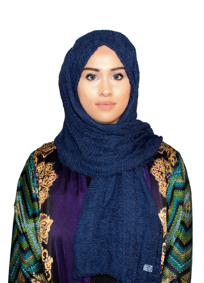 Navy Blue Cotton Crinkle Scarf by Hijab Avenue - Noor Boutique