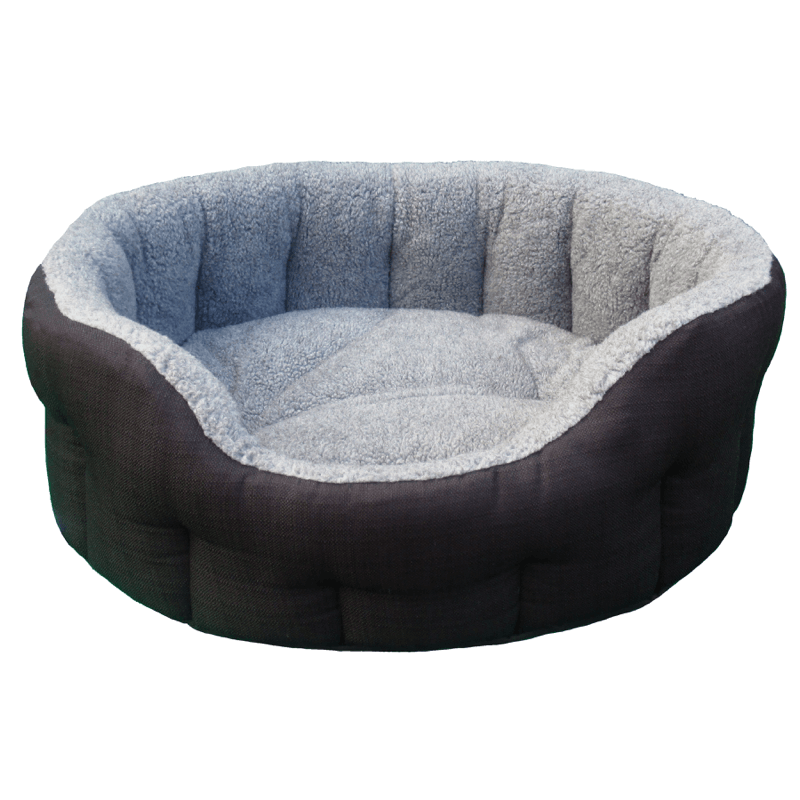 Black Basket Weave With Grey Fleece Softee Dog Bed