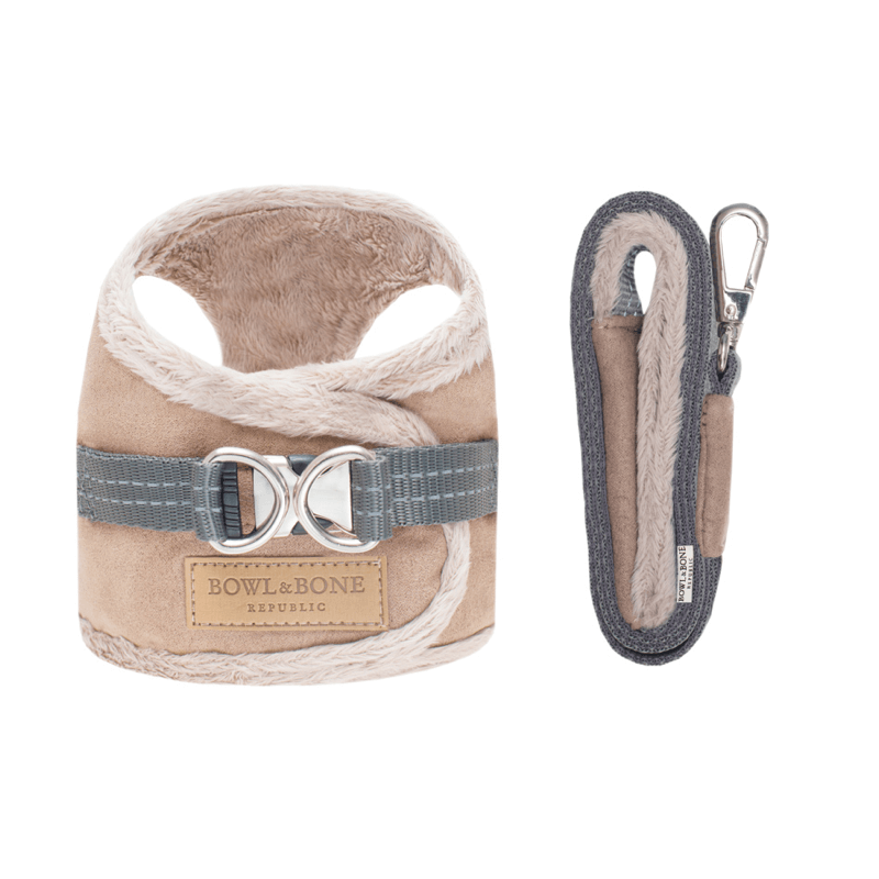 Bowl and Bone Yeti Brown Dog Harness and Lead Set