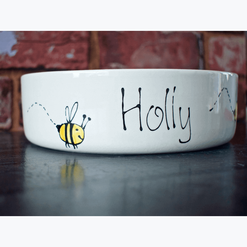 Personalised Bumble Bee Dog Bowl