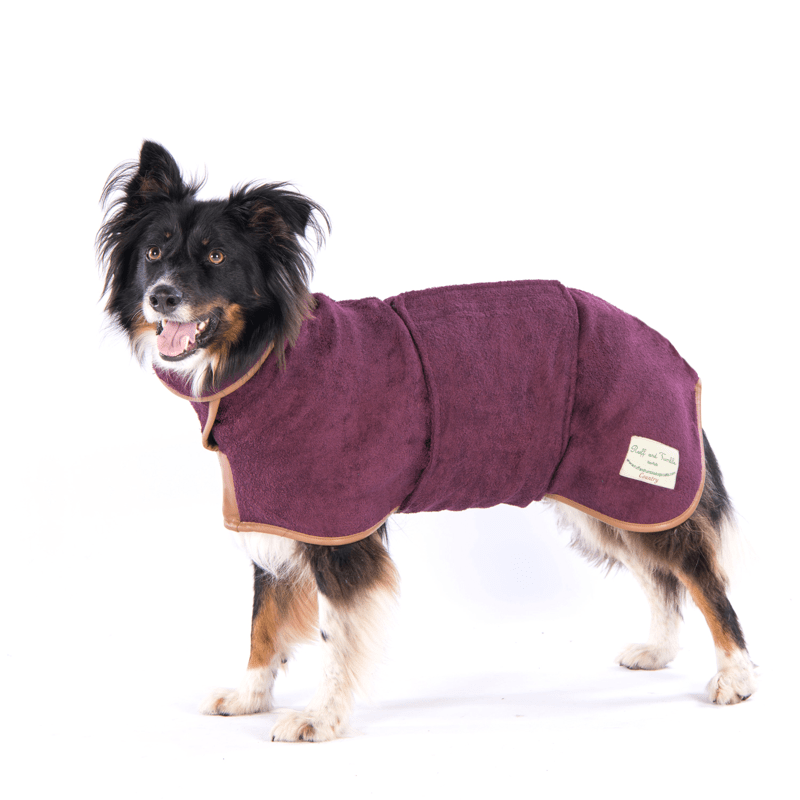 Ruff And Tumble Country Collection Dog Drying Coat in Burgundy