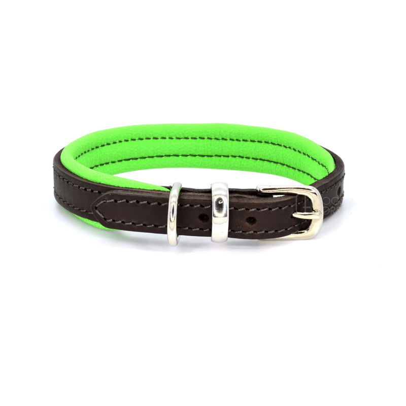 Luxury Green Padded Brown Leather Dog Collar by Dogs & Horses
