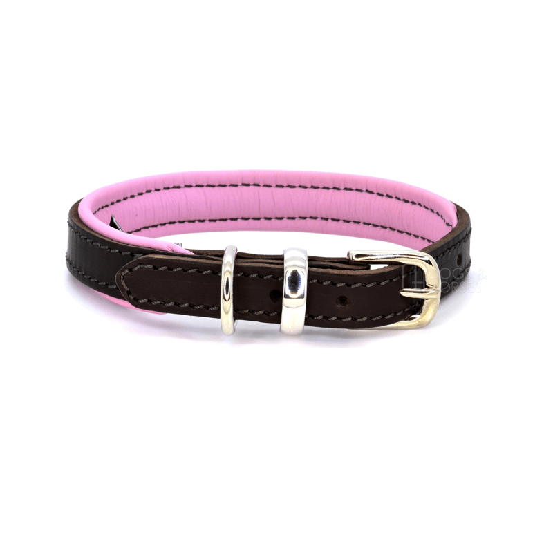 Luxury Pink Padded Leather Dog Collar by Dogs & Horses