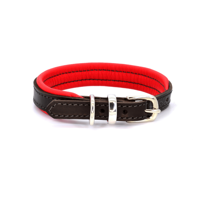 Luxury Red Padded Brown Leather Dog Collar by Dogs & Horses