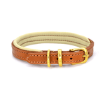 Luxury Tan and Cream Padded Leather Dog Collar by Dogs & Horses