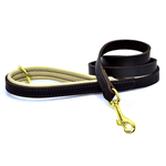 Dogs & Horses Luxury Brown and Cream Padded Leather Dog Lead