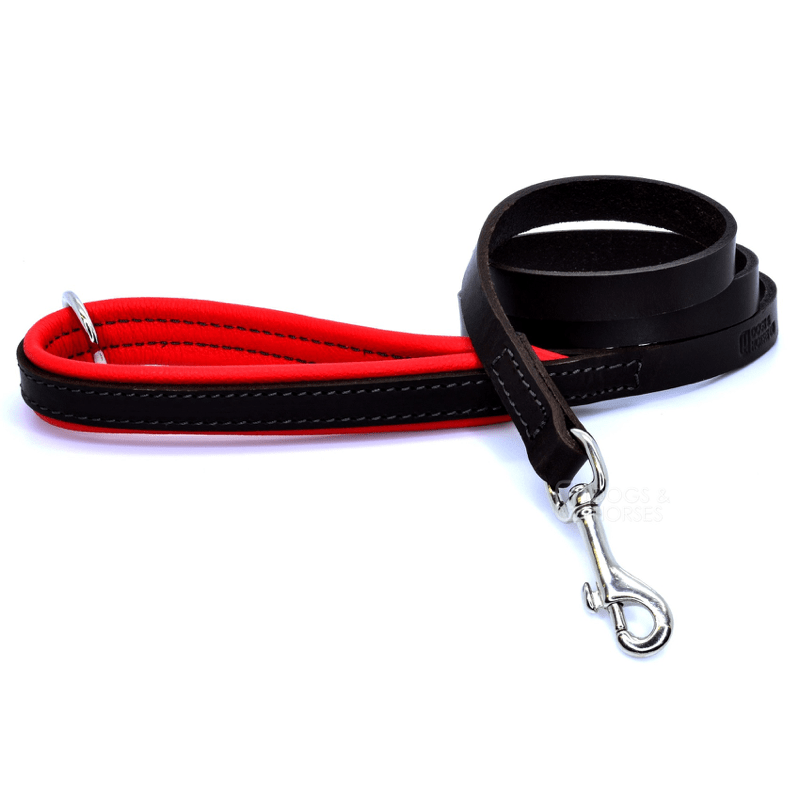 Dogs & Horses Luxury Red Padded Leather Dog Lead