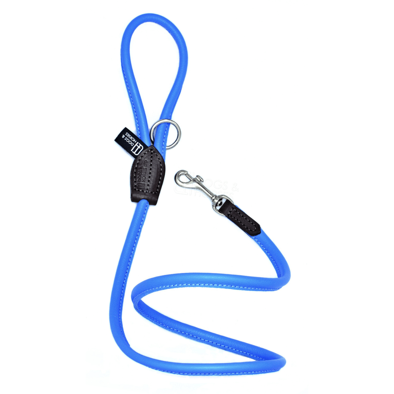 Dogs & Horses Soft Rolled Leather Lead Blue