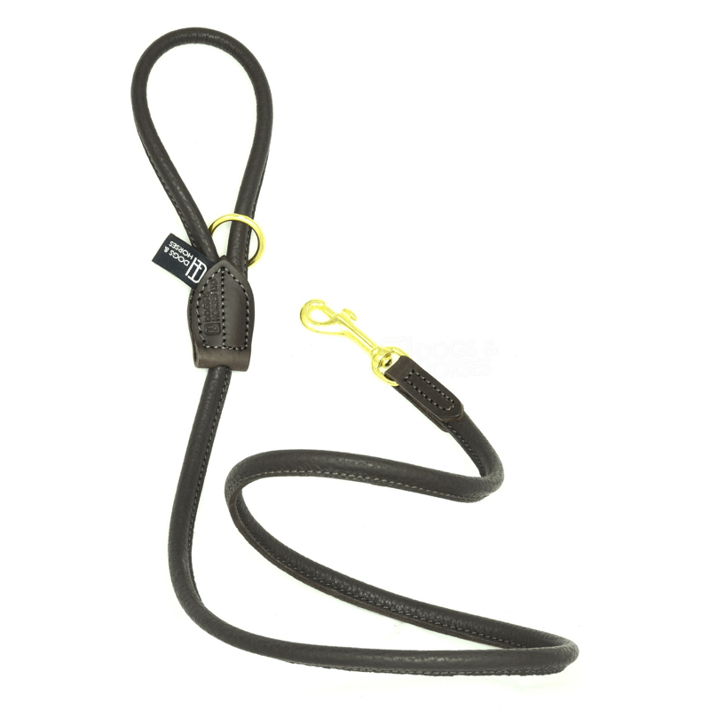 Dogs & Horses Soft Rolled Leather Lead Brown with Brass