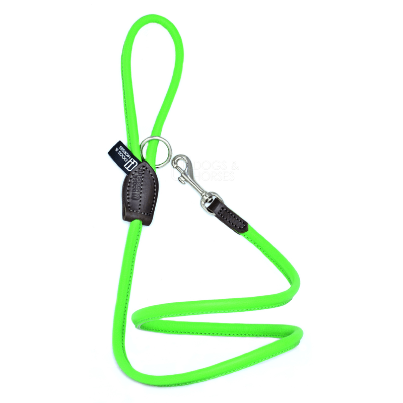 Dogs & Horses Soft Rolled Leather Lead Green