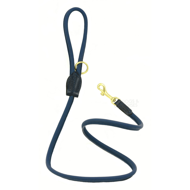 Dogs & Horses Soft Rolled Leather Lead Navy with Brass