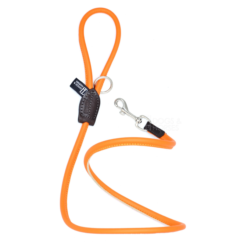 Dogs & Horses Soft Rolled Leather Lead Orange