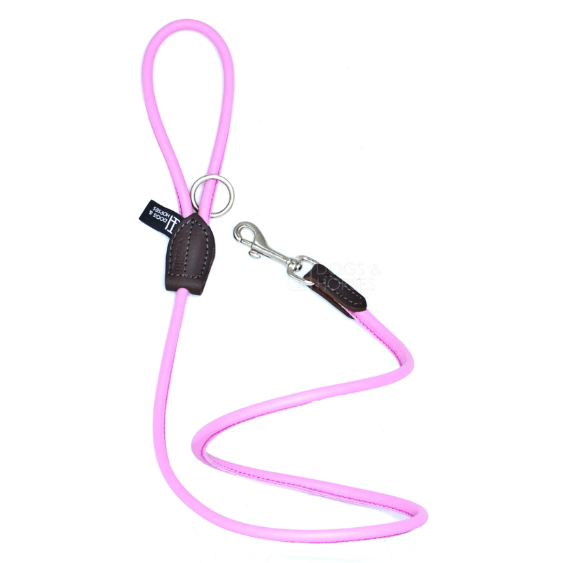 Dogs & Horses Soft Rolled Leather Lead Pink