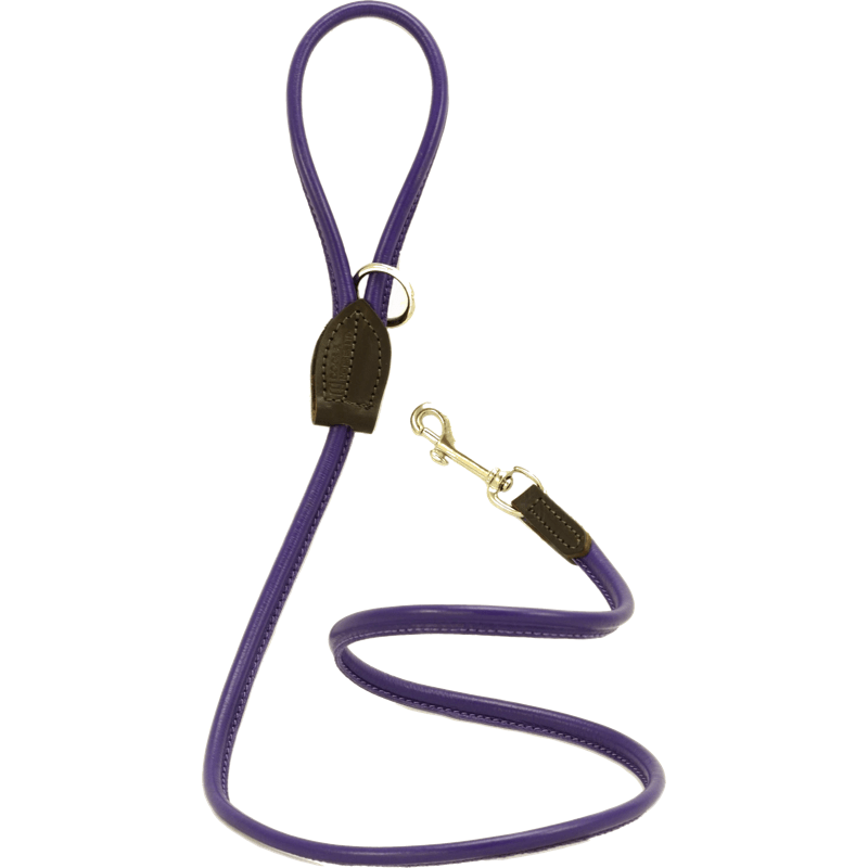 Dogs & Horses Soft Rolled Leather Lead Purple