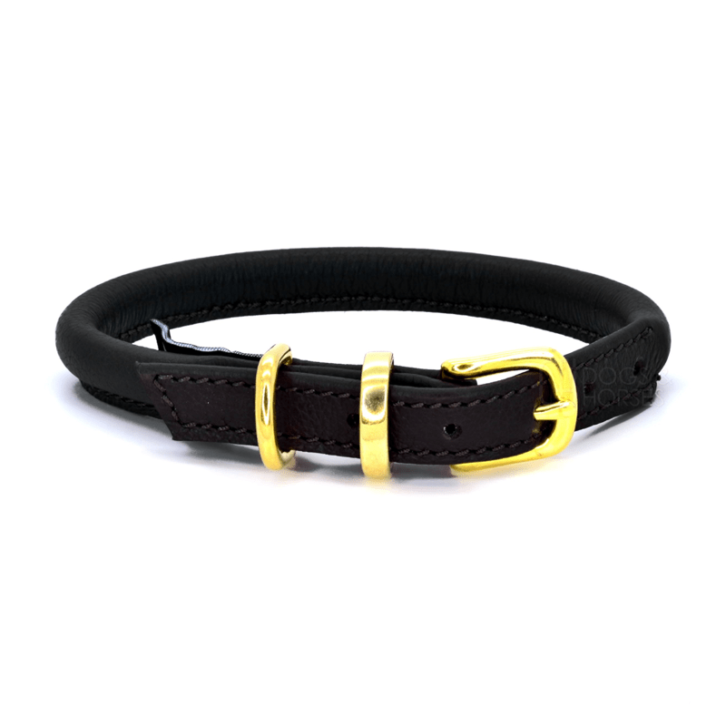 Black With Brass Rolled Leather Dog Collar by Dogs & Horses