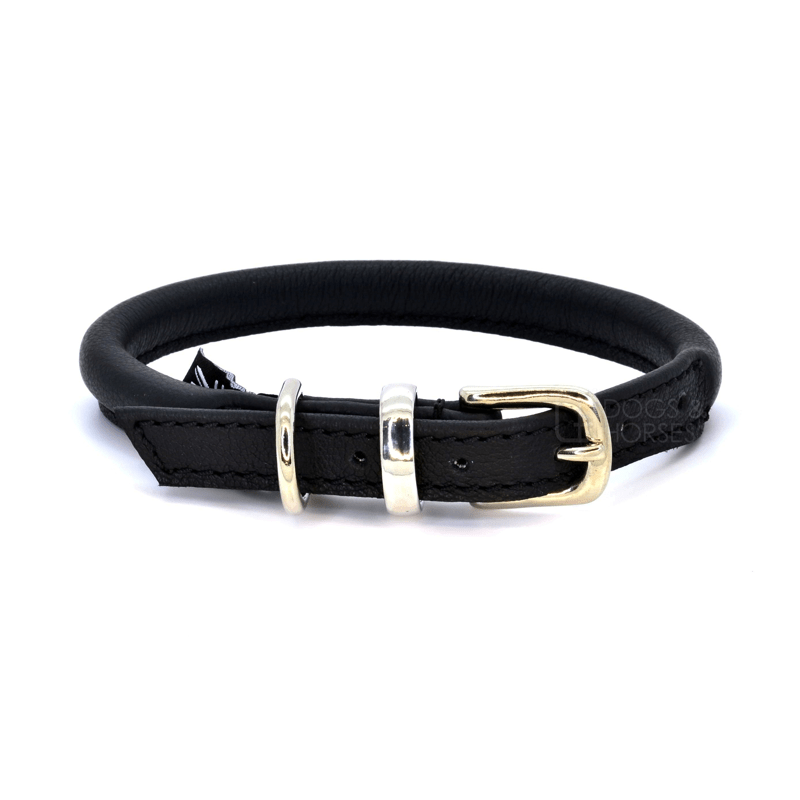 Black Rolled Leather Dog Collar by Dogs & Horses