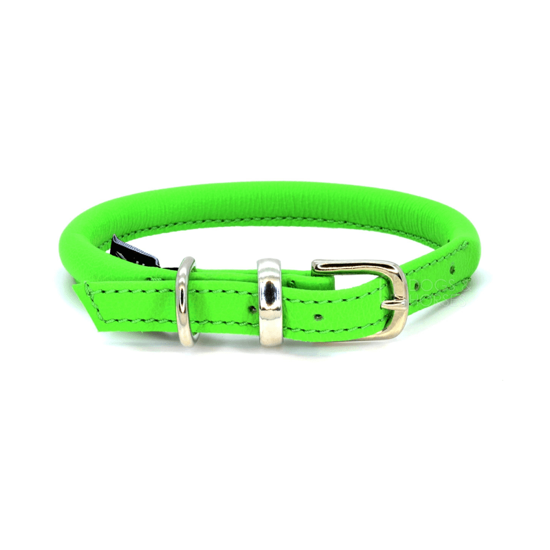 Green Rolled Leather Dog Collar by Dogs & Horses