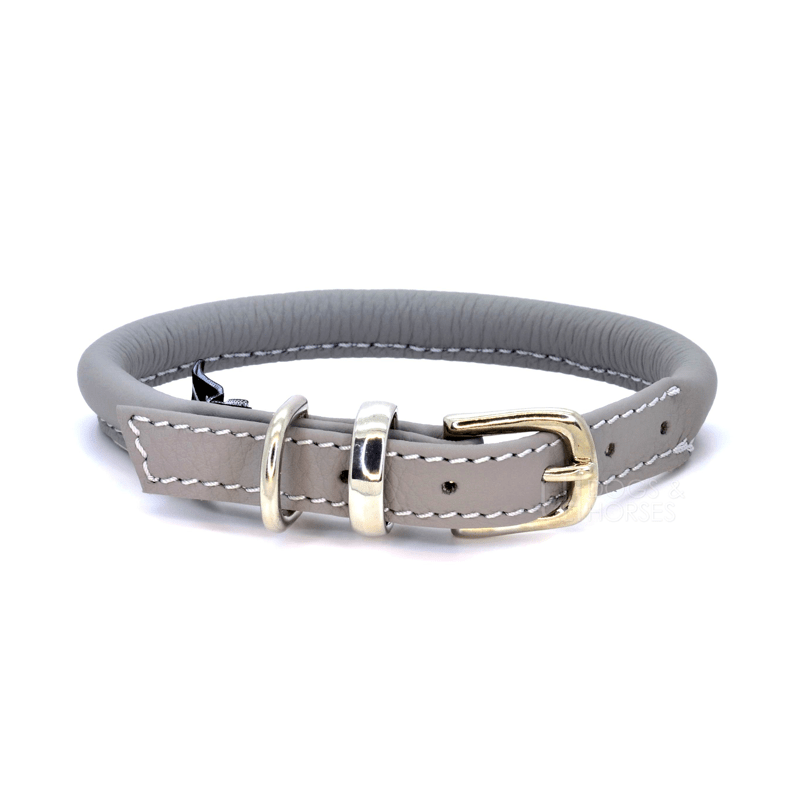 Grey Rolled Leather Dog Collar by Dogs & Horses