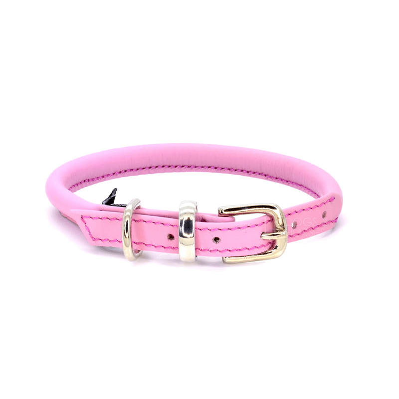 Pink Rolled Leather Dog Collar by Dogs & Horses