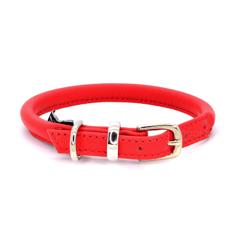 Red Rolled Leather Dog Collar by Dogs & Horses