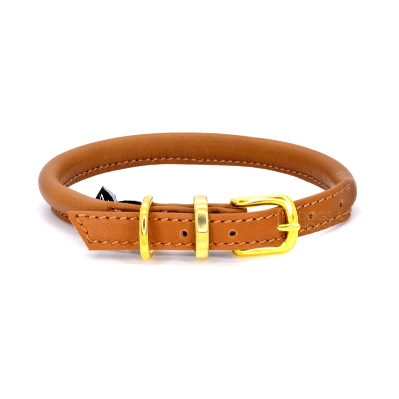 Tan With Brass Rolled Leather Dog Collar by Dogs & Horses