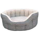 Grey Basket Weave With Oatmeal Fleece Softee Dog Bed