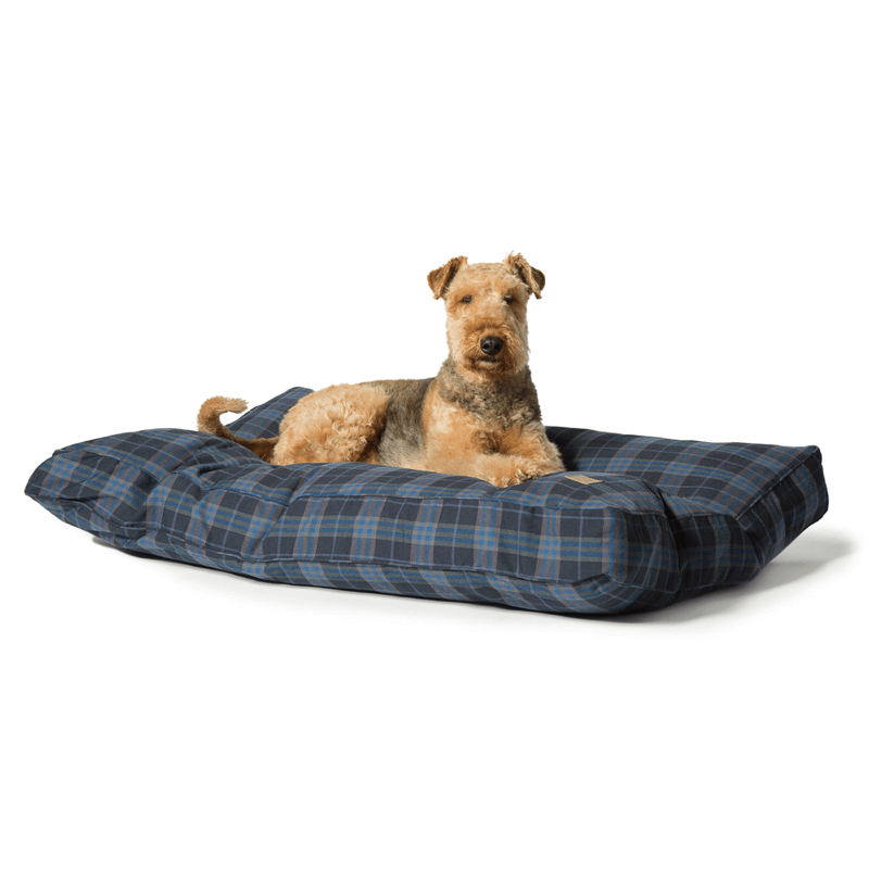 Lumberjack Box Duvet Dog Bed in Navy and Grey