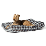 Lumberjack Box Duvet Dog Bed in White and Navy