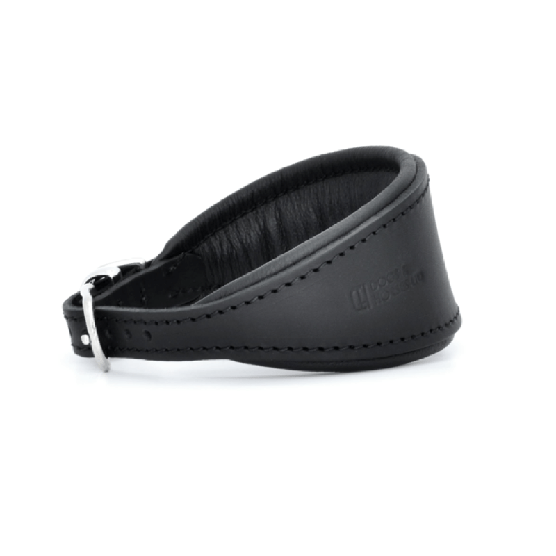 Luxury Black Leather Hound Collar by Dogs & Horses
