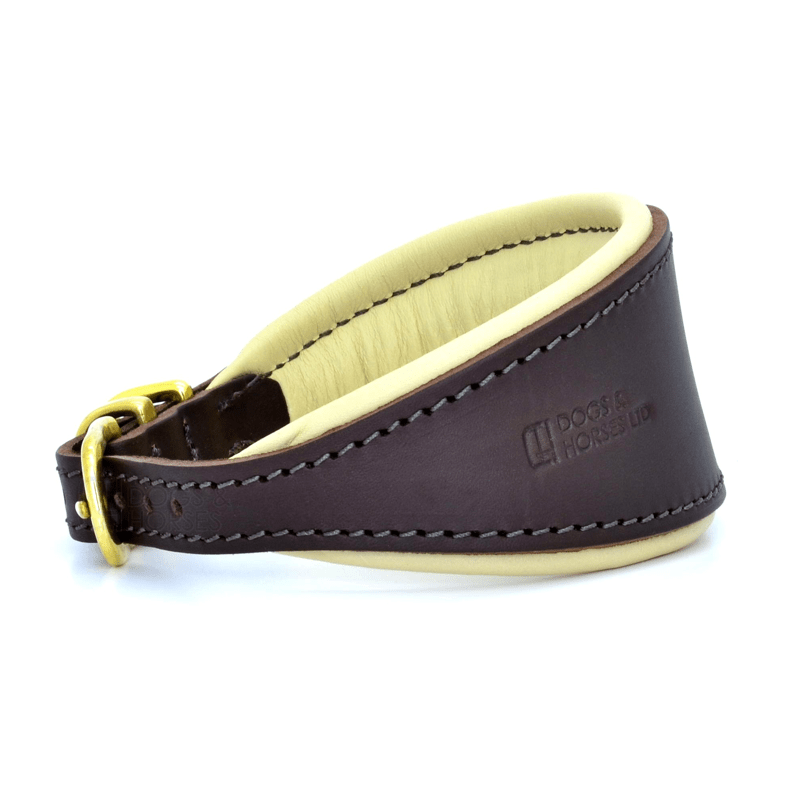 Luxury Brown and Cream Leather Hound Collar by Dogs & Horses