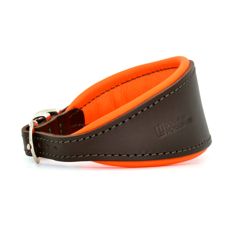 Luxury Orange Leather Hound Collar by Dogs & Horses